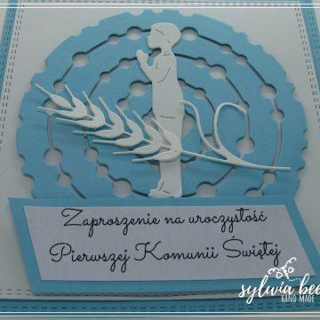 Zaproszenie komunijne błękitne wzór ks-n01